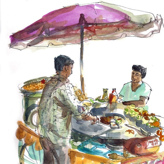 Street Vendor Drawing India Street Food Vendor