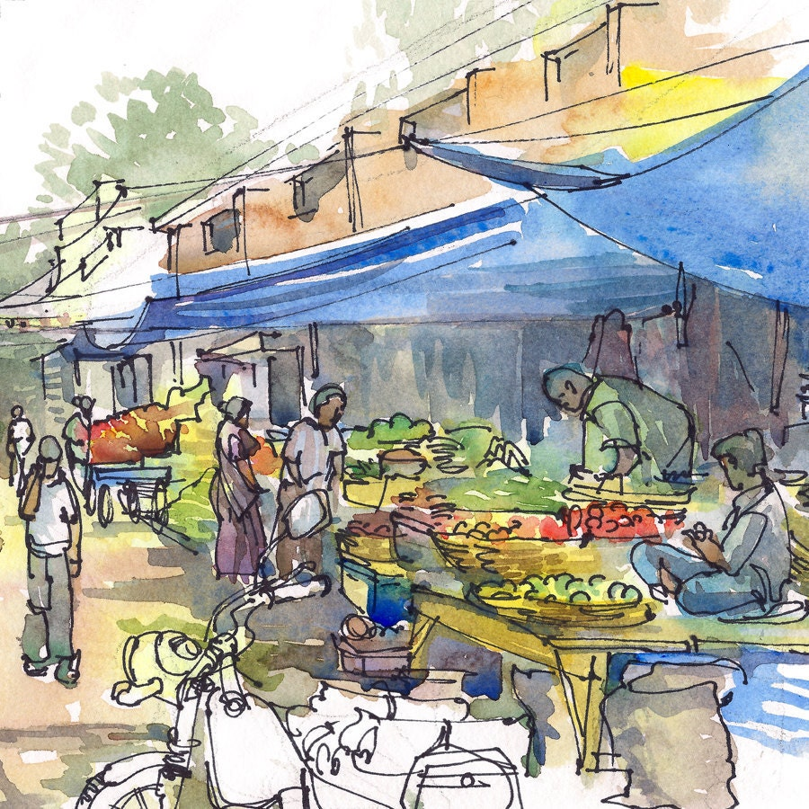 Indian Marketplace Drawing India Sketch Farmer's ...
