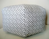 "18"" Ottoman Pouf Floor Pillow Waverly Cross Section Charcoal"