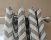 Pair of Designer Custom Curtain Panels 50 x 63 Grey White Zig Zag Chevron with Grommets