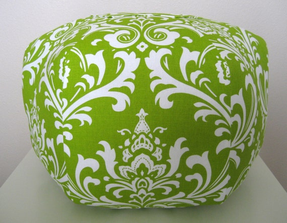 "18"" Ottoman Pouf Floor Pillow White Chartreuse Green Damask"