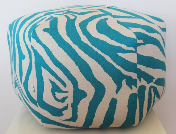 "24"" Ottoman Pouf Floor Pillow Turquoise Natural Zebra"