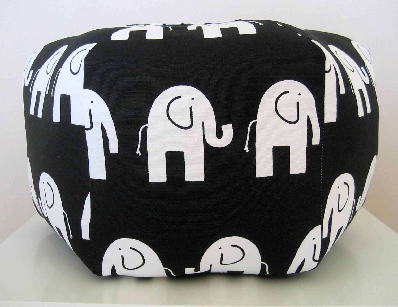 18 Ottoman Pouf Floor Pillow Black White Elephant By Aletafae