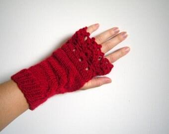 SPRING SALE Knitting ,Crochet mittens, fingerless gloves, arm warmers wool red