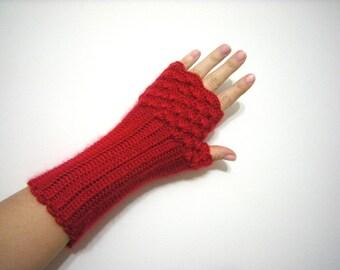 SPRING SALE Red, Arm Warmers, Fingerless Gloves Women Crochet