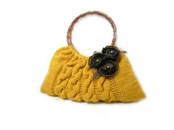 Mustard Yellow,Knit Bag, Handbag - Shoulder Bag Holiday Accessories,Christmas Gifts