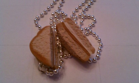 We Go Together Like Peanut Butter & Fluff Friendship Necklace Set Yummy Food Jewelry