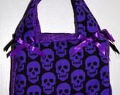 purple skull mini tote