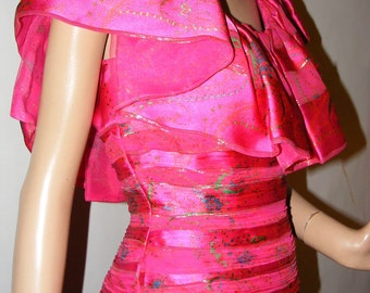 Palette of Pink Silk Vintage 1970s early 1980s Morton Myles For Warrens Tags Party Event Gown Formal 6