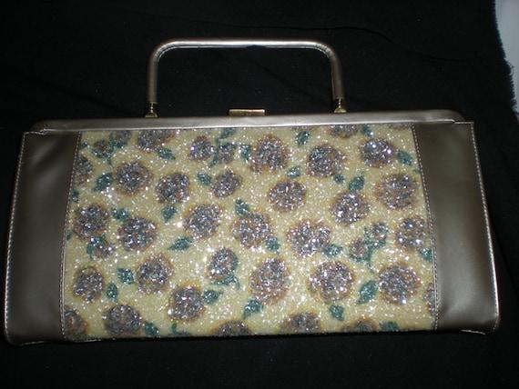 Vintage 1950s 1960s Sugar Crystaled Roses Envelope Handbag Purse Pocketbook