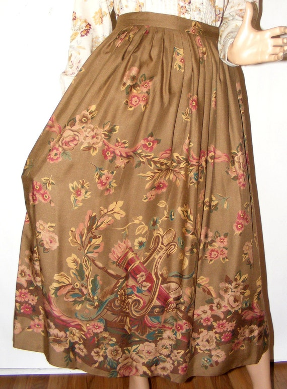 Lovely Vintage Country Antique Print Wool Rayon Challis Ralph Lauren Skirt 12