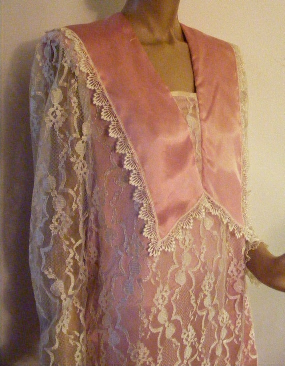 Great Gatsby Millie and Daisy Gunne Sax McClintock 1980s goes 1920s Lace Satin Pink Pleats Med-Lg
