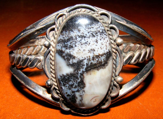 RESERVED Vintage Native American Old Pawn Zebra Stone Obsidian White Buffalo Silver Cuff Bracelet
