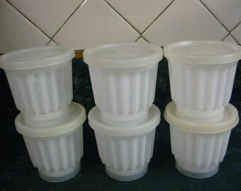 Vintage Tupperware Jelette Set - Tupperware - Tupperware Jello Molds - Vintage Tupperware - White Tupper - Tupperware Individual Jello Molds