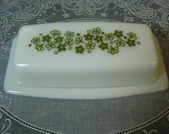 Vintage Pyrex Daisy Spring Blossom Green Pattern Butter Dish with Lid - Pyrex Butter Dish - Pyrex - Butter Dish - Pyrex Spring Blossom