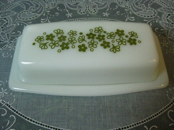 Vintage Butter Dish: Pyrex Daisy Spring Blossom Green Pattern Butter Dish with Lid