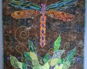 Dragonfly textile art wall hanging