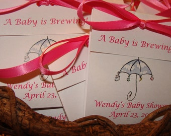 Cloudy Umbrella Baby Shower Tea Bag Favors that are Sweet and Adorable