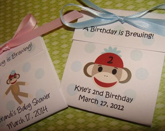 Personalized Sock Monkey Baby Shower Tea Party Favors Tetley Tea 1st 2nd 3rd 4th Birthday Favors