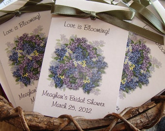 Personalized Love is in Bloom Lilac Bunches Design Bridal Shower Wedding Flower Birthday Anniversary Seeds Party Favors