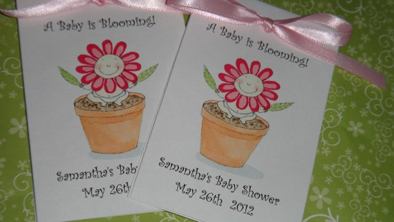 Flower Pink and Orange Flower Face Flower Pot Baby Shower Sprinkle Flower Seeds Packets Party Favors SALE CIJ Christmas in July