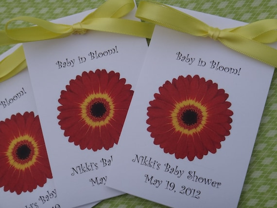 Red and Yellow Gerber Daisy design Baby Shower Favors Personalized with Wildflower Seeds for Baby or Bridal Shower SALE