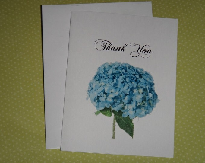 Custom Blue Hydrangea Personalized Thank You Note Cards for your Wedding Day
