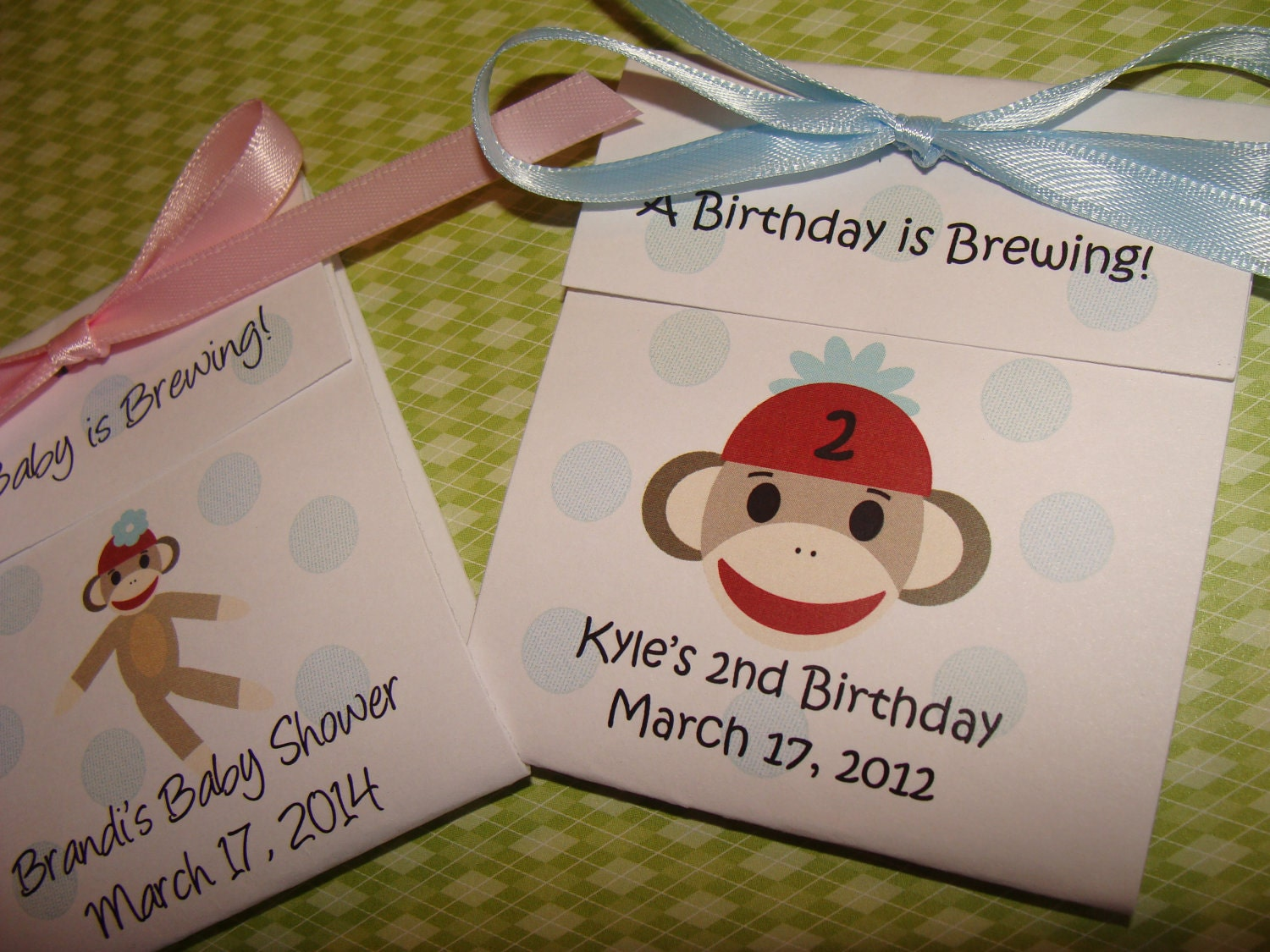 personalized sock monkey baby shower tea party favors tetley