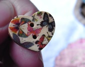 Butterflies From The Forest Wooden Heart Ring