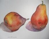 Couple series, pears, original watercolor painting