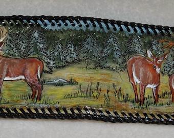 Hand carved leather deer scene wallet