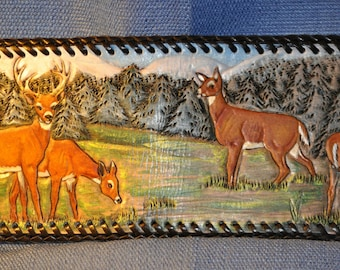Mens handcarved wallet with whitetail deer scene