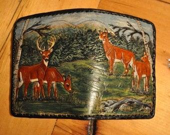 Men's credit card wallet Deer scene
