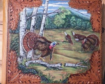 Handcarved Photo Album cover with Wild Turkeys