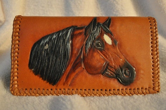 Hand Carved Leather Checkbook cover Horse head