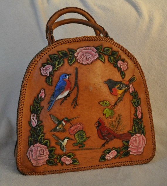 Hand carved Leather bowling bag