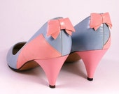 Vintage 80s Pastel Pink and Blue Leather Heeled Shoes with Bow Detail UK 5.5 US 8