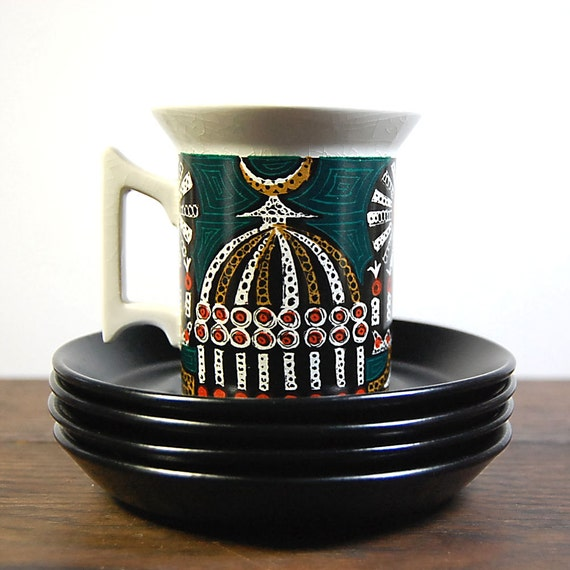 RESERVED FOR SMYLE Midcentury Mod 1960s Portmeirion Magic City 4 Coffee Cups & Saucers