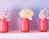 Pink antique Vintage Set of 2 Atlas Mason jars squared curved corners DIY candle lantern present garden gift women jars 2 quarts