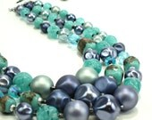 1960s vintage blue and aqua beaded triple strand necklace