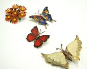 Vintage butterflies and flower pins instant collection