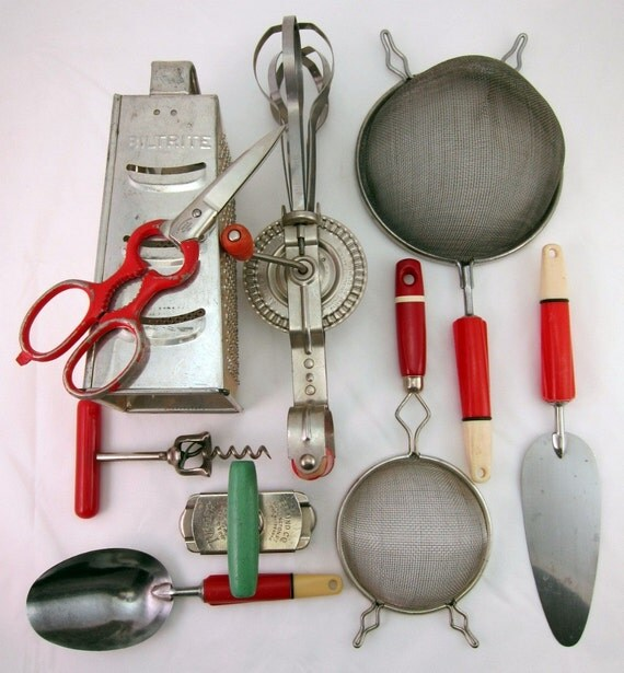 Box Lotta Vintage Red Handle Kitchen Utensils By Recenthistory