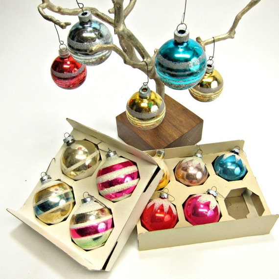 14 vintage glitter frosted and striped Christmas ornaments