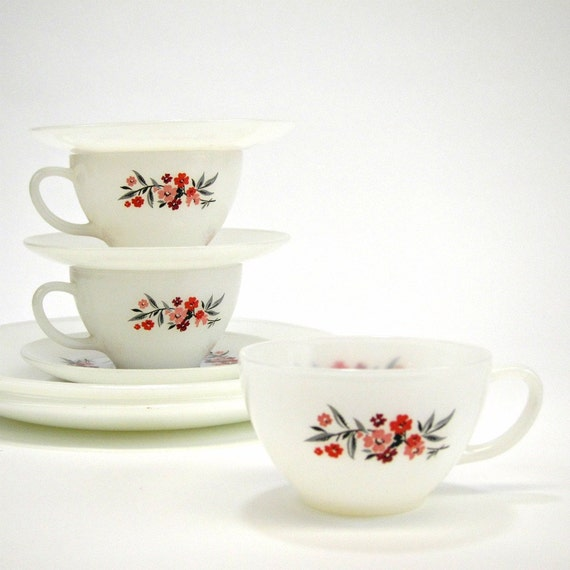 1960s Fire King Primrose cups, saucers and plates for 3