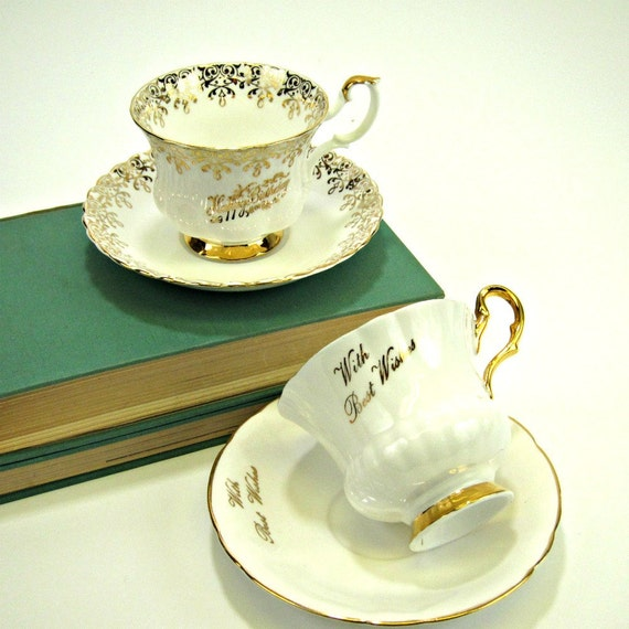 Happy Birthday And With Best Wishes Tea Cup And Saucer Pair