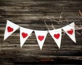 Red Heart Glitter Burlap Banner