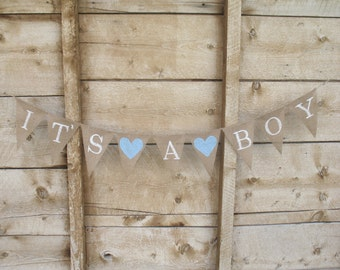 It's a boy burlap banner in white lettering, baby shower banner, photo prop, bunting, sign,