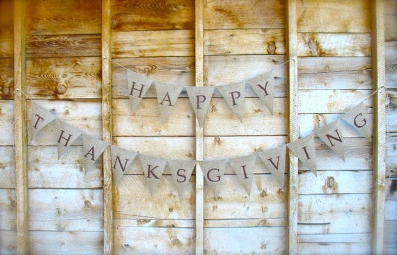 Happy Thanksgiving  Burlap Banner, burlap bunting, harvest, decoration