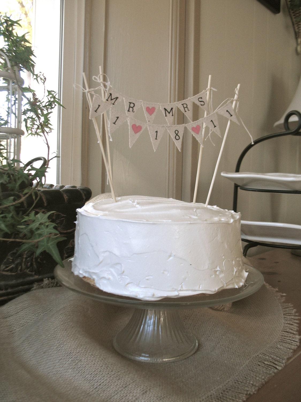 Banner Wedding Cake Topper Cake Topper Cotton Banner