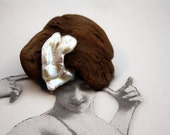 driftwood brooch with embracing angel-wing genuine freshwater pearl... 4 cm...one of a kind natural jewelry...art to wear